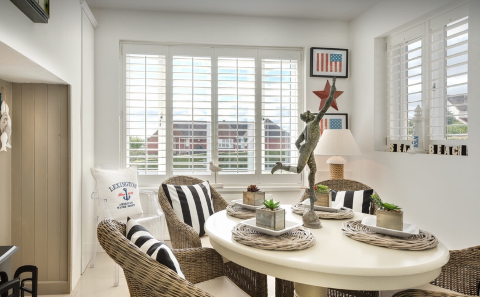 Bright dining space with Wooden Shutters