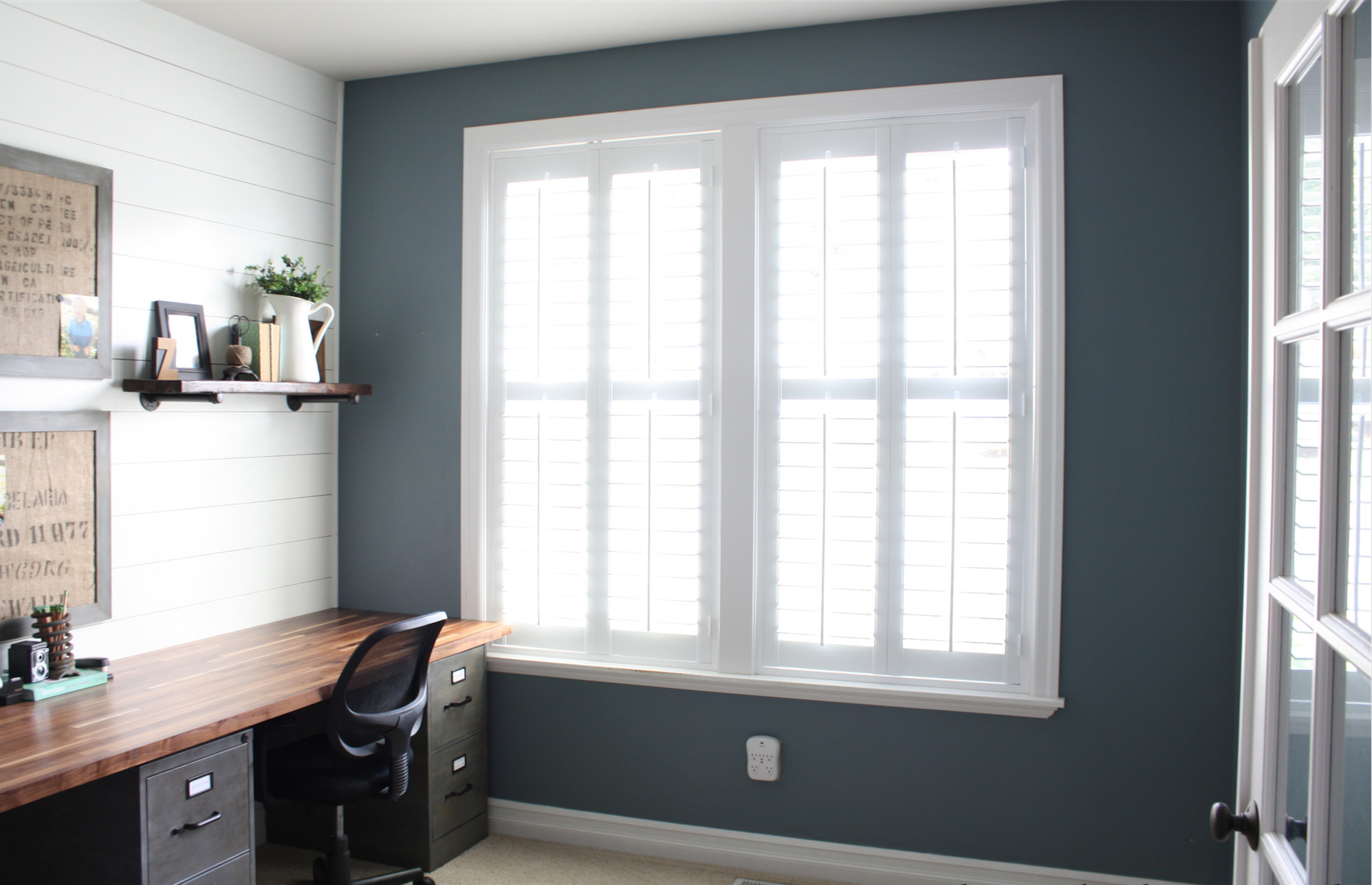 home office with shutters