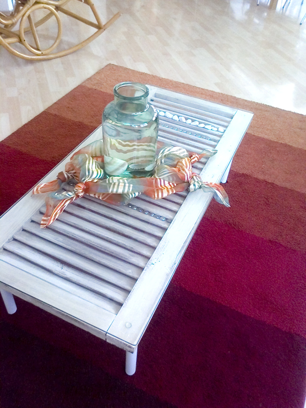 Create a coffee table with Wooden Shutters