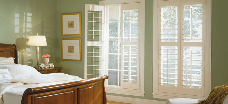 Wooden Shutters in a bedroom