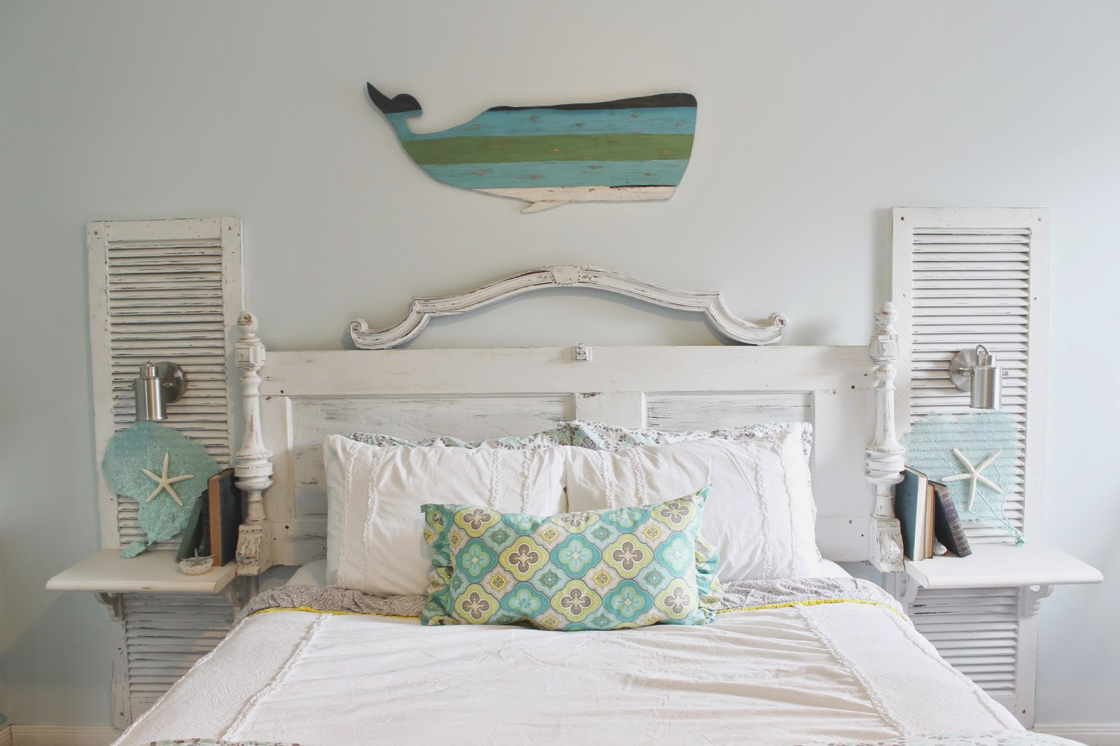 Bed board made from wooden shutters
